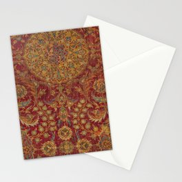Boho Funky III // 16th Century Distressed Red Green Blue Flowery Colorful Ornate Rug Pattern Stationery Cards