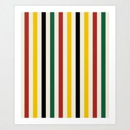 Rustic Lodge Stripes Black Yellow Red Green Art Print