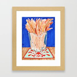 Glass Vase with Dried Plants drawing Framed Art Print