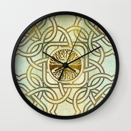 Golden Tree of life  -Yggdrasil on vintage paper Wall Clock