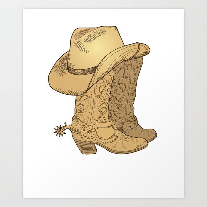 fdd11857de1 Vintage Retro Cowboy Hat Cowboy Boots Gift Art Print by mintedfresh