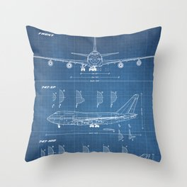 Boeing 747-SP and 747-100 Blueprint in High Resolution (light blue) Throw Pillow
