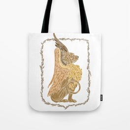 Mythical griffon in a floral wreath Tote Bag