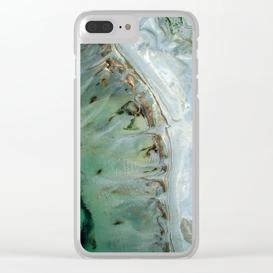Marble teal & gold ocean Clear iPhone Case