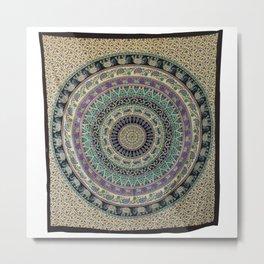 Cotton Hippie Elephant Print Mandala Tapestry   Metal Print