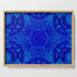 Blue kaleidoscope 2 Serving Tray