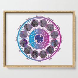 Starlight Zodiac Wheel Serving Tray
