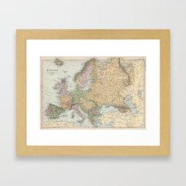 Vintage Map of Europe (1892) Framed Art Print