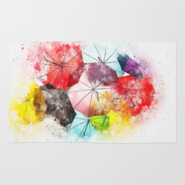 Umbrella Watercolor Rug
