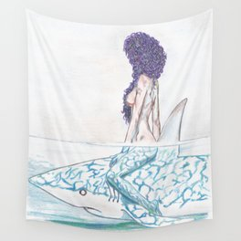 The girl and the fish Wall Tapestry