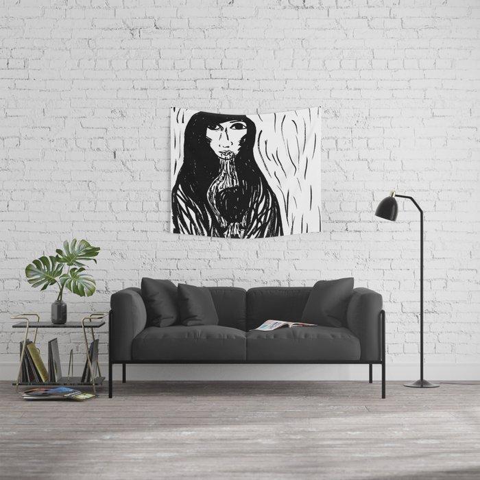 mujer de lluvia Wall Tapestry