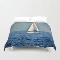 sailboat Duvet Covers featuring Sailboat by Joe Mullikin