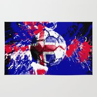 iceland Area & Throw Rugs featuring football Iceland by seb mcnulty