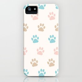 Cute Cat Paw Print Pattern – Pink Blue Brown and Cream iPhone Case