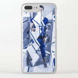 Blue/White Runway Clear iPhone Case
