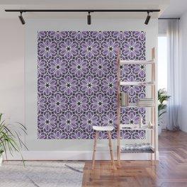Symmetric Flower Pattern in Purple Wall Mural