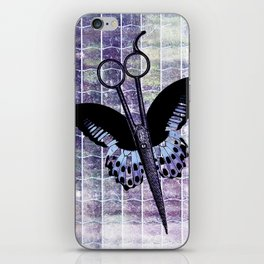 hair stylist scissors shears butterfly grunge purple iPhone Skin