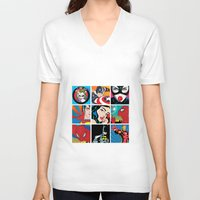 dc comics V-neck T-shirts featuring COMICS by mark ashkenazi