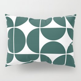 Mid Century Modern Geometric 04 Dark Green Pillow Sham