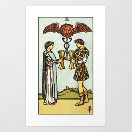 TWO OF CUPS / WHITE Art Print