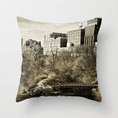 Vintage City Park Throw Pillow