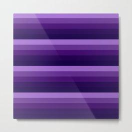 Purple Lavender Indigo Ombre stripes Metal Print