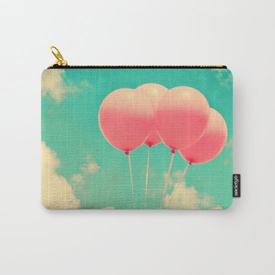 Balloons in the sky (pink ballons in retro blue sky) Carry-All Pouch