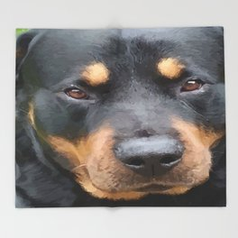 Beautiful Female Rottweiler Portrait Vector Throw Blanket