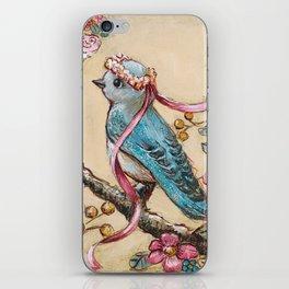 Bluebird and vintage florals iPhone Skin