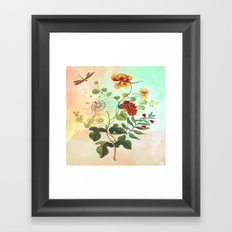 Simply Divine, Vintage Botanical Illustration Pastels Watercolors Flowers Dragonfly Framed Art Print