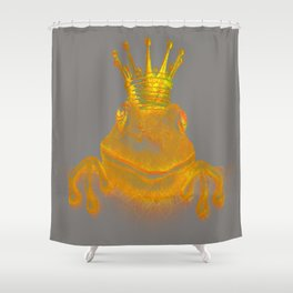 Simple Golden King Frog on Grey Day Shower Curtain