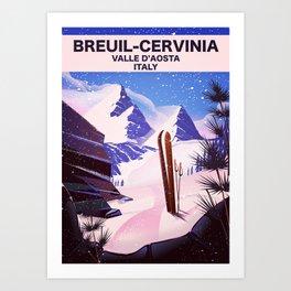 Breuil-Cervinia Valle d'Aosta Italy Ski poster. Art Print