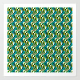 Retro Abstract Wave in Green & Blue + Contemporary Graphic Design Illustration by Limolida Art Print