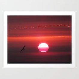 Sunset Fire Red Sky 8-9-18 - RIP Jerry Art Print