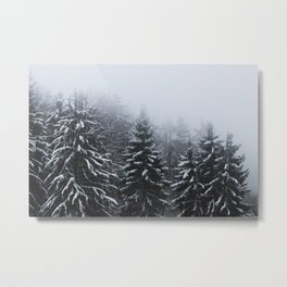 Fog over snow covered spruce forest in winter Metal Print
