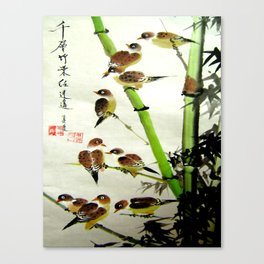 nine sparrows Canvas Print