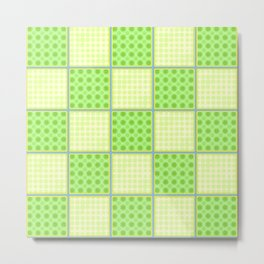 Green Checks - Green Polka Dot and Plain Yellow Metal Print