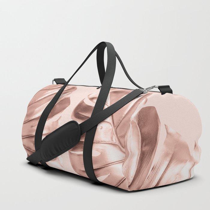 Rose Gold Monstera Leaves on Blush Pink Duffle Bag
