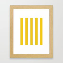 Jonquil yellow - solid color - white vertical lines pattern Framed Art Print