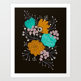 Modern florals and sprigs Art Print