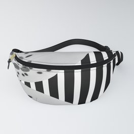 Monochrome stripes and lilies Fanny Pack