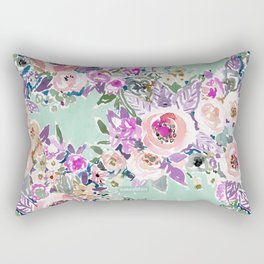 Mint SO LUSCIOUS Painterly Floral Rectangular Pillow