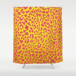 Yellow & Pink Leopard Print Shower Curtain