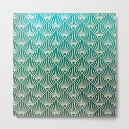 Teal golden Art Deco pattern Metal Print