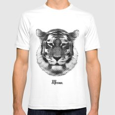 TIGER SAYS MEOW Mens Fitted Tee White MEDIUM
