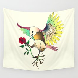 Flying with roses Wall Tapestry