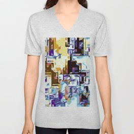 purple brown pink yellow and blue Unisex V-Neck