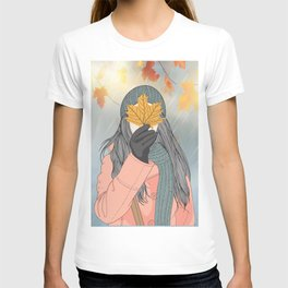 Autumn and the beautiful woman with her long pink coat, Wall Art Girl Holding Leaves in Autumn T-shirt