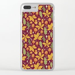 Autumn Forest Leafs and Mushrooms - Red Clear iPhone Case