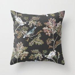 BIRDS ON OAK BRANCHES Throw Pillow